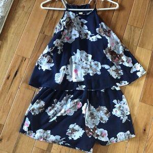 Dresses & Skirts - Navy blue floral romper!